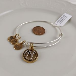 Alex and Ani Silver Gold Initial N Bracelet NWT